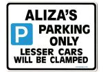 ALIZA'S Personalised Parking Sign Gift | Unique Car Present for Her |  Size Large - Metal faced